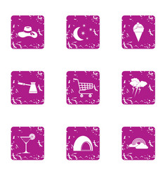 Nightly icons set grunge style vector