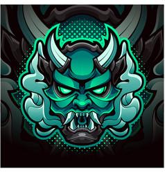 Oni head mascot logo design vector