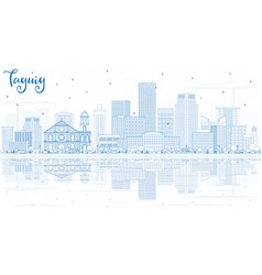 Outline taguig philippines skyline with blue vector