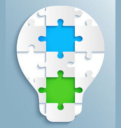 part puzzles in form light bulbs vector image