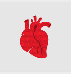 red human heart in new trendy flat style on gray vector image