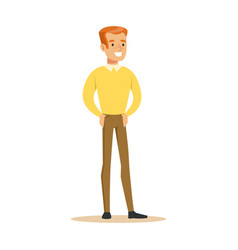 Redhead guy in yellow sweater overwhelmed with vector