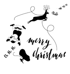 Santa Claus fall from sleigh with harness on the vector