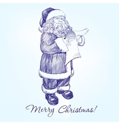 Santa Claus reading a letter hand drawn vector