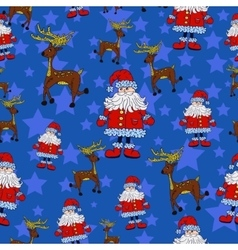 Seamless Christmas pattern with Santa reindeer vector image