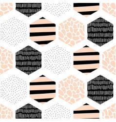 Seamless pattern abstract geometric hexagon vector