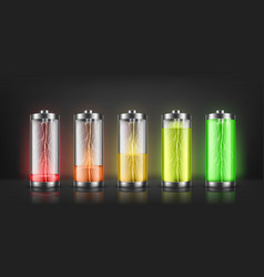 set battery charge indicators vector image