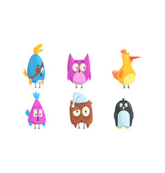 set funny birds cute little birdies with funny vector image