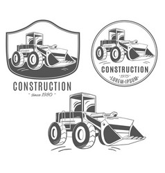 set of logos with bulldozer vector image