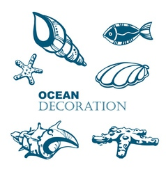 Set of ocean decoration vector