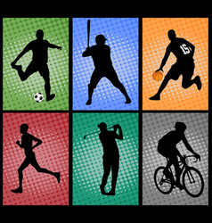 set of sport silhouettes on the colorful vector image vector image
