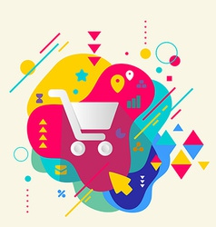 Shopping trolley on abstract colorful spotted vector image