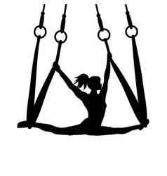 Silhouette girl yoga exercise pose aero split vector