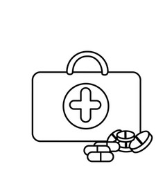 silhouette suitcase health with treatment icon vector image