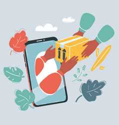 smartphone with online shopping process box is vector image