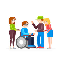 special needs child with friends vector image