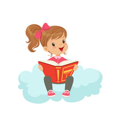 Sweet little girl sitting on cloud reading a book vector