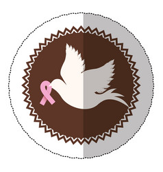 Symbol dove with breast cancer ribbon in the peak vector