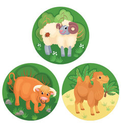 Three round banners with farm animals vector image