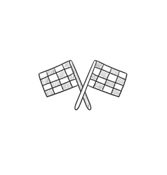 Two checkered flags sketch icon vector