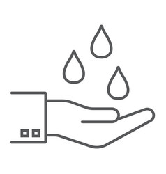 water drops in hand thin line icon vector image