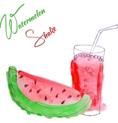 watercolor watermelon shake vector image