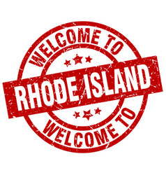 welcome to rhode island red stamp vector image