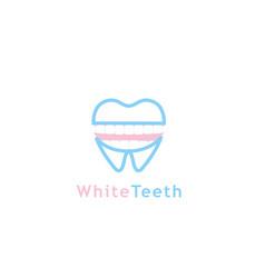white teeth logo vector image