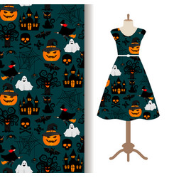 womens dress fabric with halloween pattern vector image