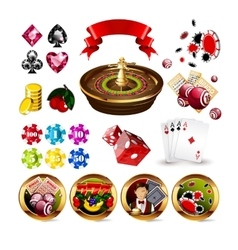 Big Set of Casino Gambling Elements vector image vector image