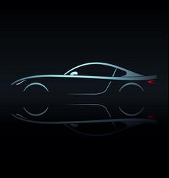 blue light silhouette sport car vector image vector image