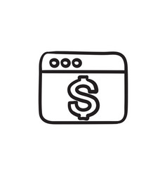 Browser window with dollar sign sketch icon vector