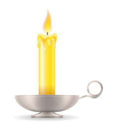 candle with candlestick old retro vintage icon vector image