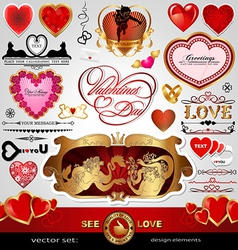 Happy Valentines Day Love Wedding set vector image