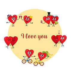 i love you greeting card with couples of heart vector image vector image