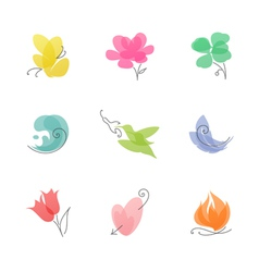 Multicolored nature set of elegant design elements vector image vector image