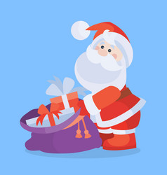 santa claus with sack full of gifts cartoon icon vector image