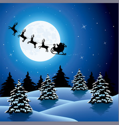 xmas holiday background with flying santa claus vector image vector image
