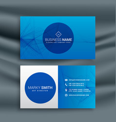 Blue business card template with abstract wire vector