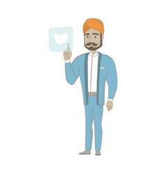 businessman pressing web button with heart vector image