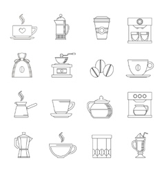 Coffee icons outline vector image vector image
