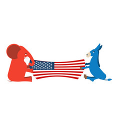 elephant and donkey divide usa flag political vector image vector image