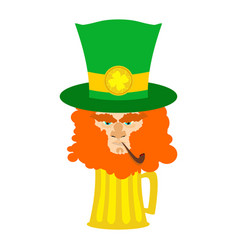 leprechaun with red beard and beer st patricks vector image