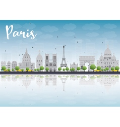 Paris skyline with grey landmarks vector image vector image