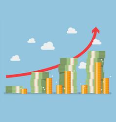 retirement money plan with red arrow vector image