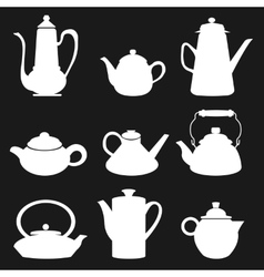 Tea Coffee Icon Black silhouette Kettle Diferent vector image vector image