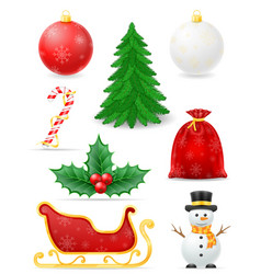 christmas objects set icons stock vector image vector image