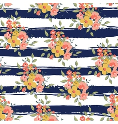 floral pattern with dark blue stripes vector image vector image