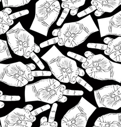 Middle finger hands seamless pattern black and vector image vector image