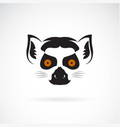 ring-tailed lemur head design on white background vector image vector image